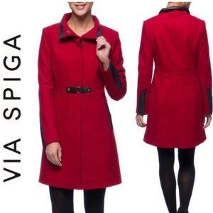 Via Spiga Wool Blend Walker Coat NWOT 14